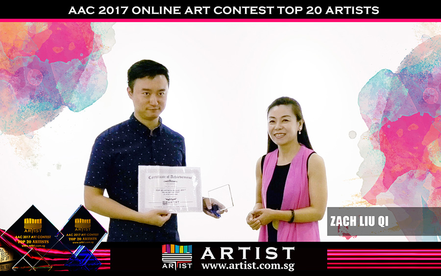 Chief Editor of Artist Singapore Zou Lu present the awards to the Top 20 contest winners