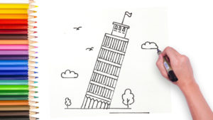 how to draw tower of pisa