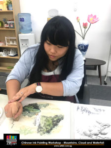 chinese ink painting workshop - mountain, cloud and waterfall