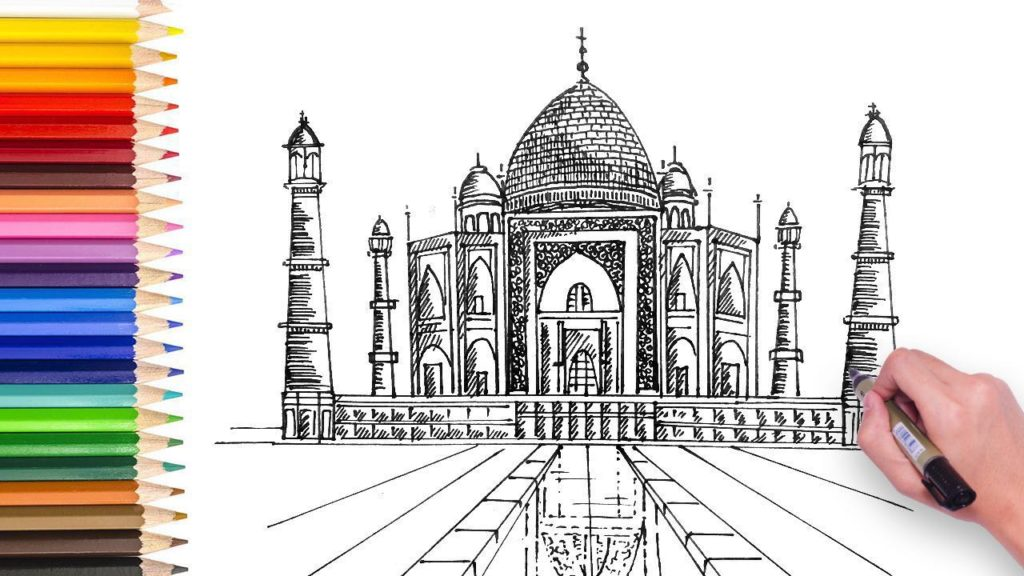 India Taj Mahal Drawing Video tutorial