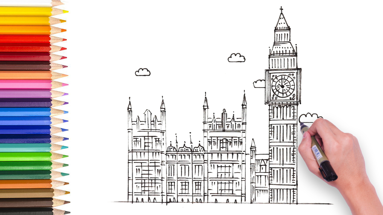 how to draw big ben video for kids