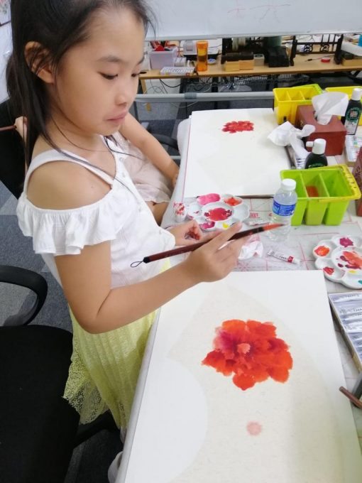 Chinese painting course for kids - peony